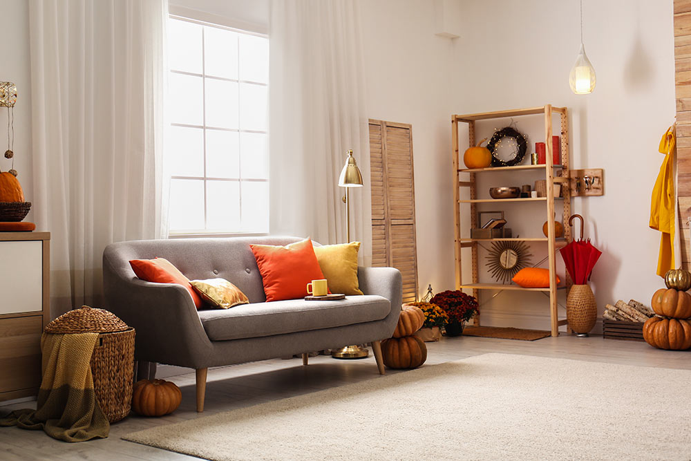 A living room with a gray couch, bookshelf, and pumpkin decoration.